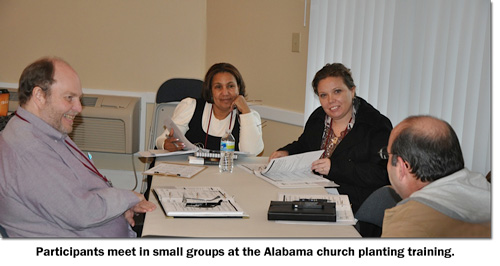 Small group meets at the 2013 church planting training on the Alabama District church of the nazarene